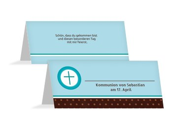 Kommunion Tischkarte Kreuzhostie
