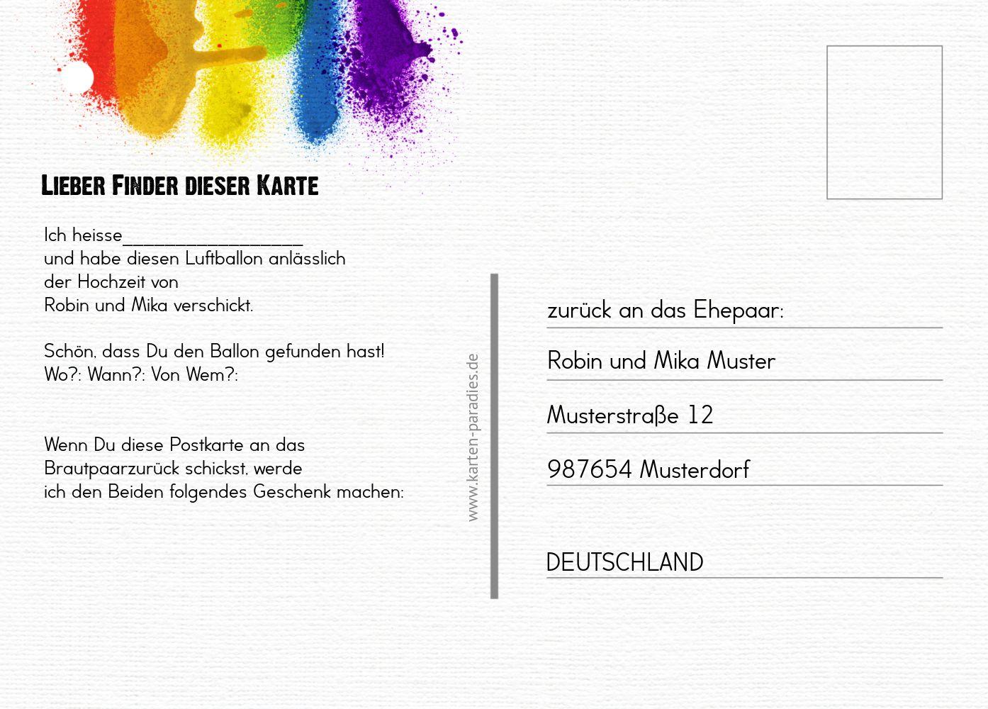 Ansicht 3 - Ballonkarte Regenbogenliebe