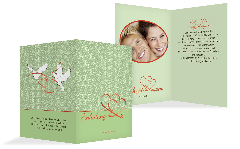 Hochzeit Einladung Turteltäubchen