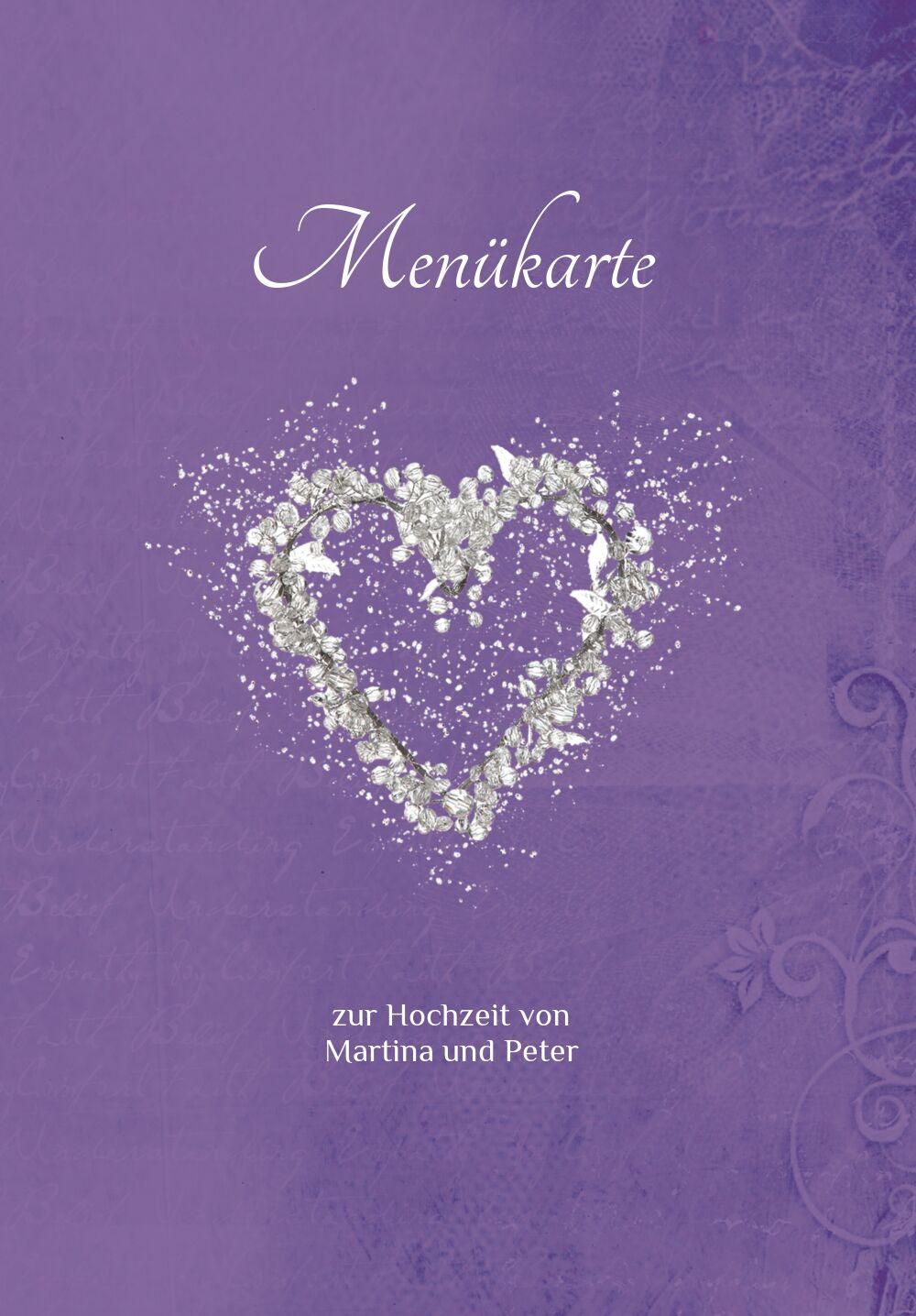 Ansicht 3 - Hochzeit Menükarte glamour heart
