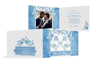 Hochzeit Dankeskarte Vogelpaar- Männer