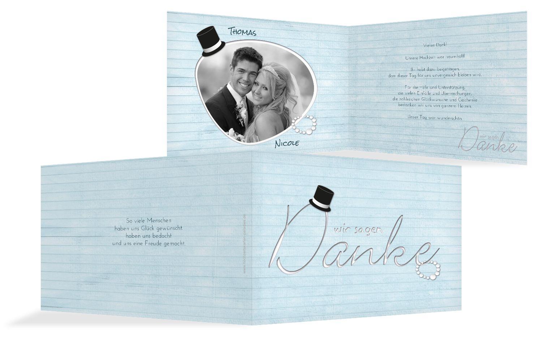 Hochzeit Dankeskarte Kette Zylinder