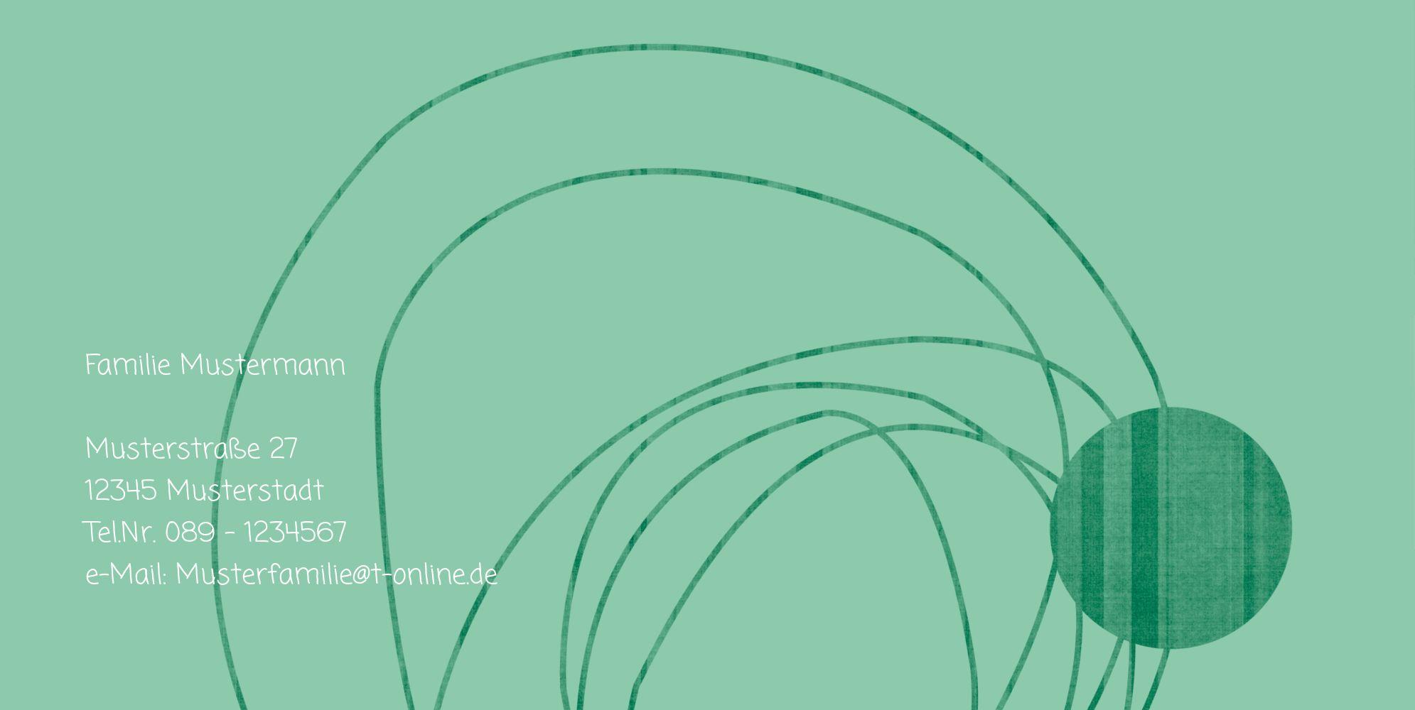 Ansicht 2 - Taufkarte Einladung Wollknäuel
