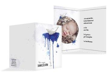Taufe Dankeskarte Origamischiff