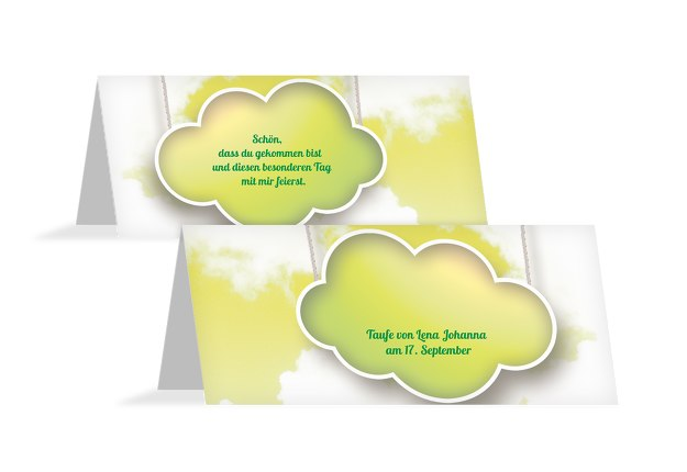 Taufe Tischkarte Fluffy Cloud