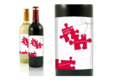 Hochzeit Flaschenetikett Puzzleteile
