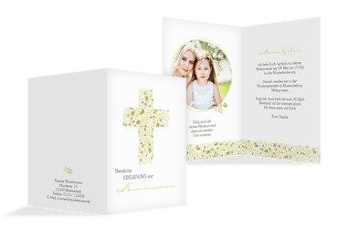 Kommunion Einladungskarte Blumenkreuz