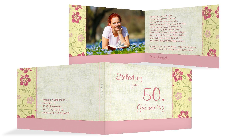 Einladung zum Geburtstag Foto Hibiskus 50