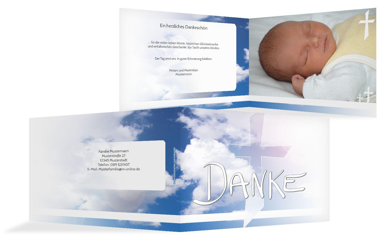 Taufe Dankeskarte Himmelskreuz