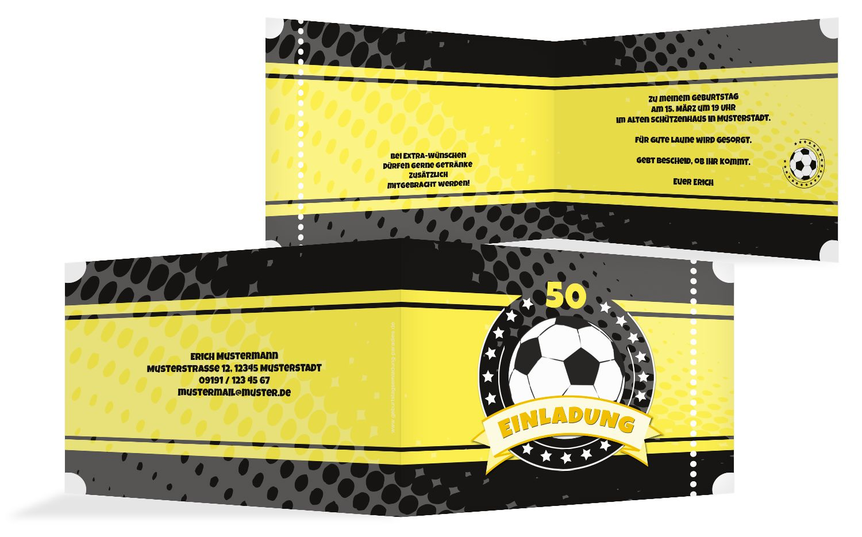 Einladungskarte Fußballstar 50
