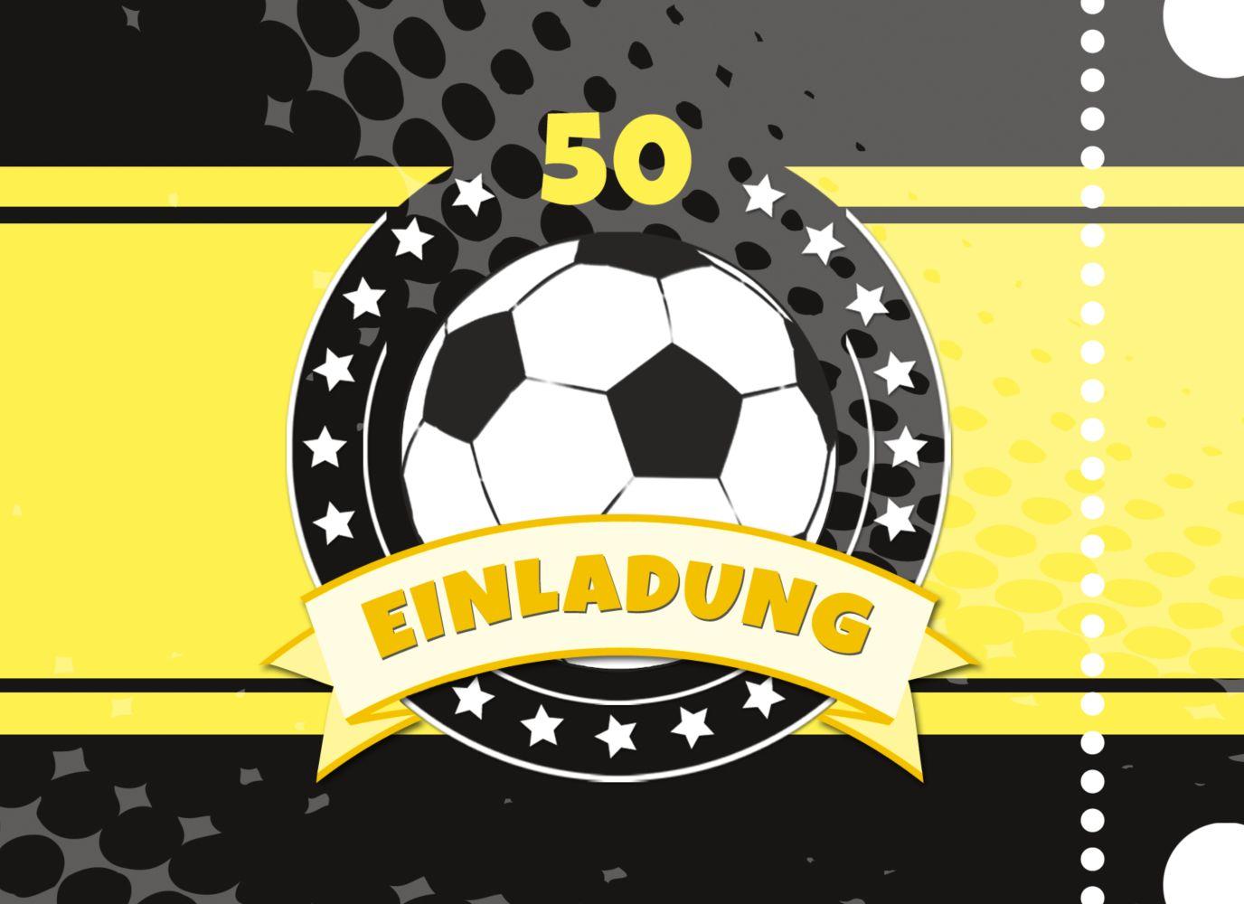 Ansicht 3 - Einladungskarte Fußballstar 50