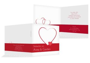 Hochzeit Dankeskarte 2 Herzensband