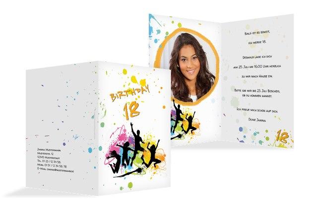 Karte 18. Geburtstag bunte Party 18 Foto