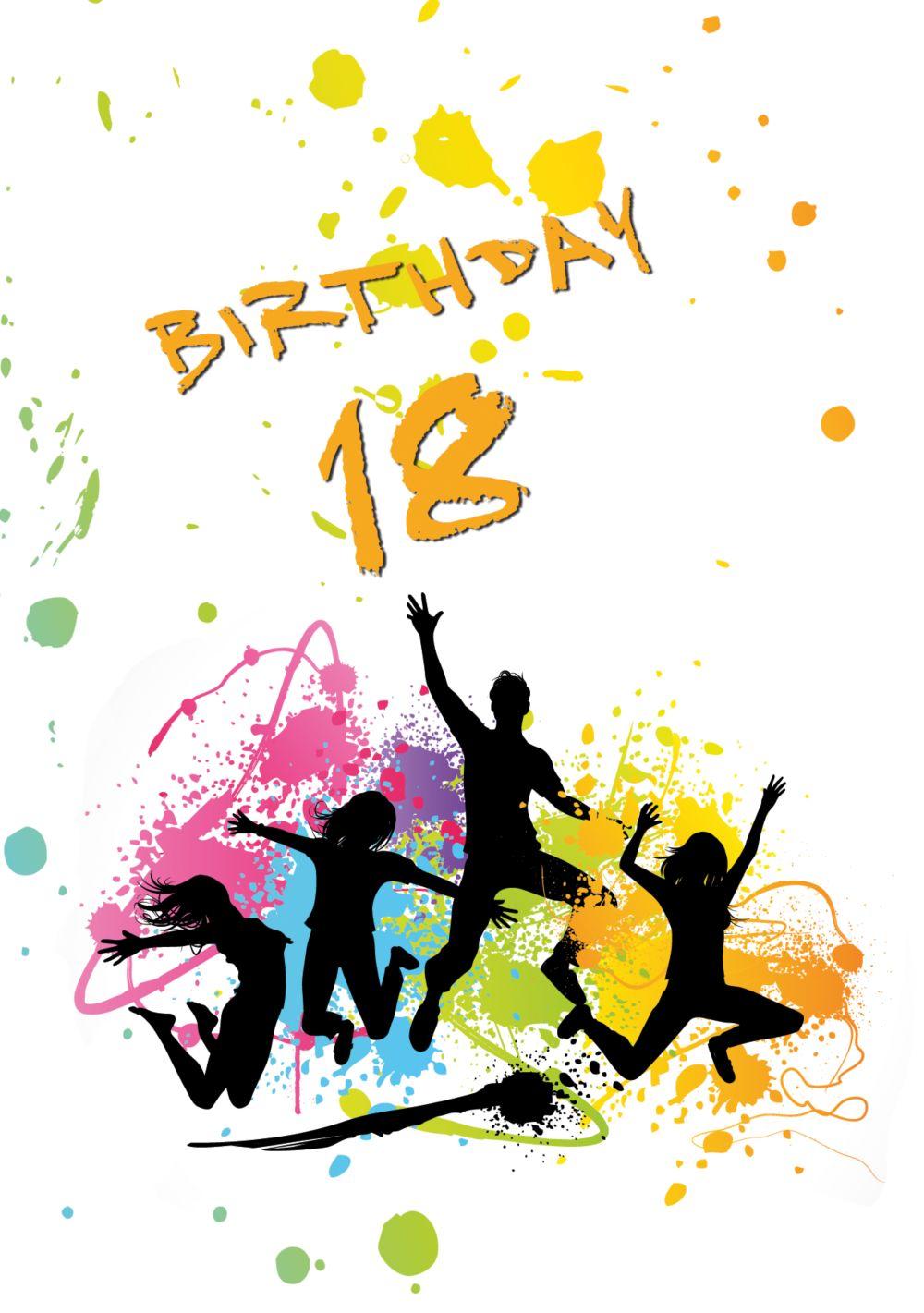 Ansicht 3 - Karte 18. Geburtstag bunte Party 18 Foto