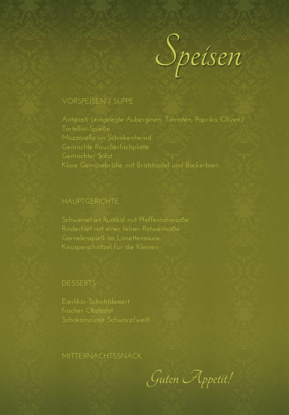 Ansicht 5 - Hochzeit Menükarte Eheversprechen