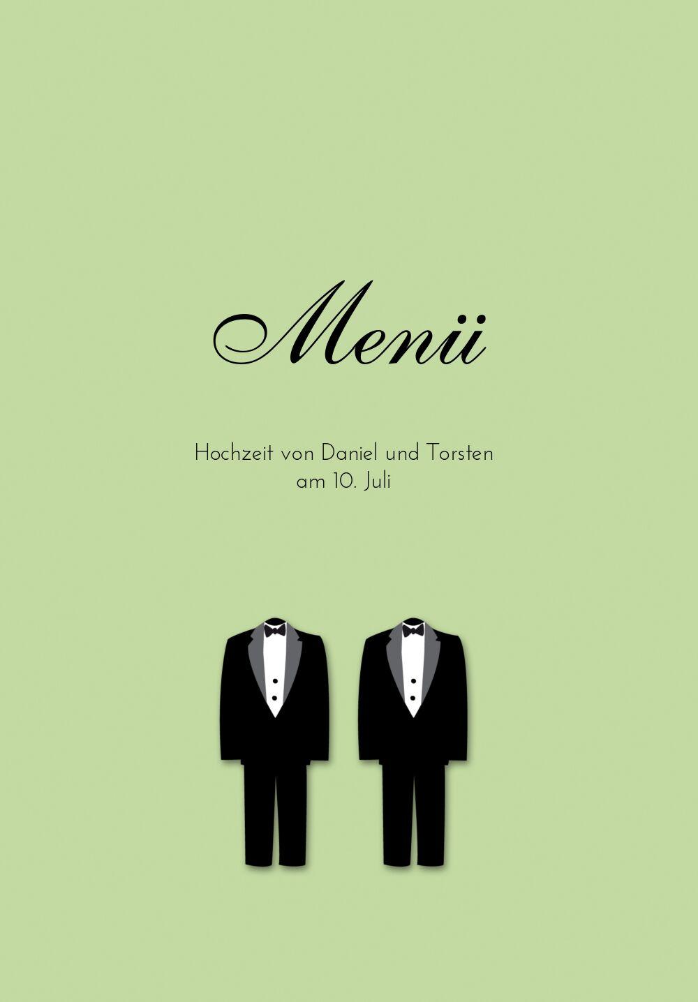 Ansicht 3 - Hochzeit Menükarte suits