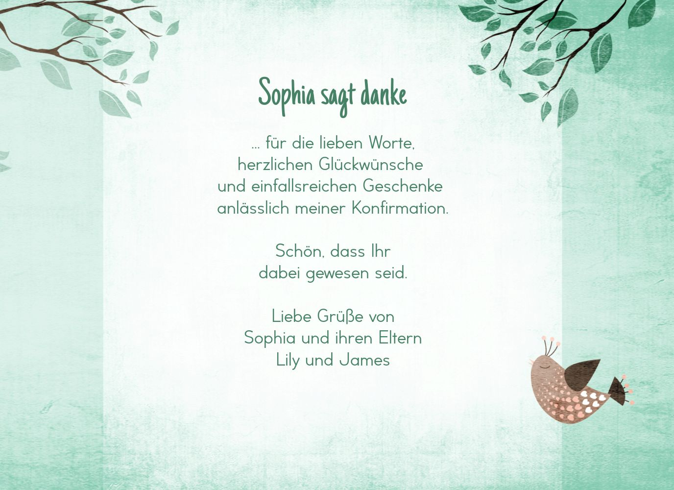 Ansicht 5 - Konfirmation Dankeskarte Vögelchen