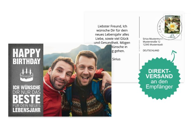 Glückwunschkarte zum Geburtstag Torte