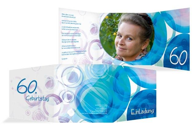 Einladungskarte colorful circles 60 Foto