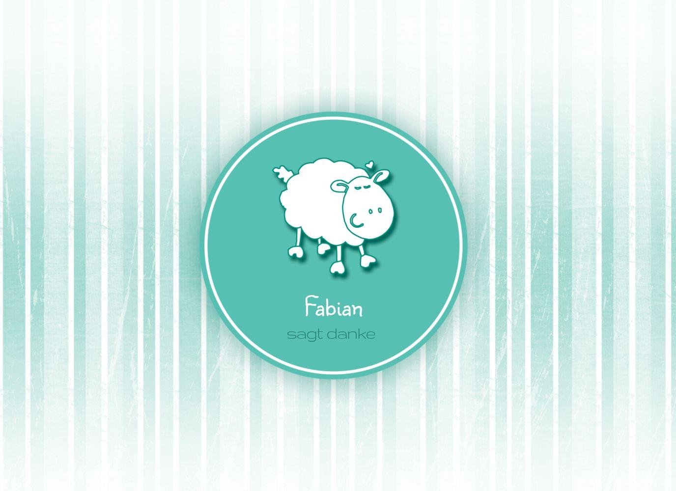 Ansicht 3 - Baby Dankeskarte sheep