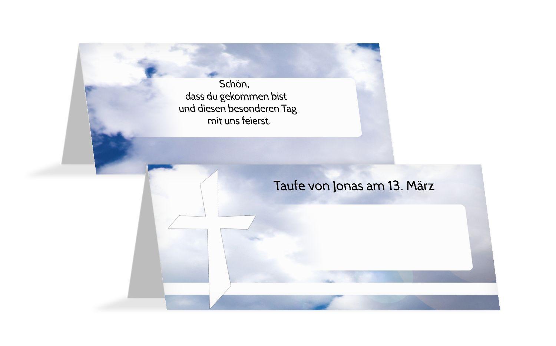 Taufe Tischkarte Himmelskreuz