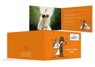 Hochzeit Dankeskarte Comic Brautpaar