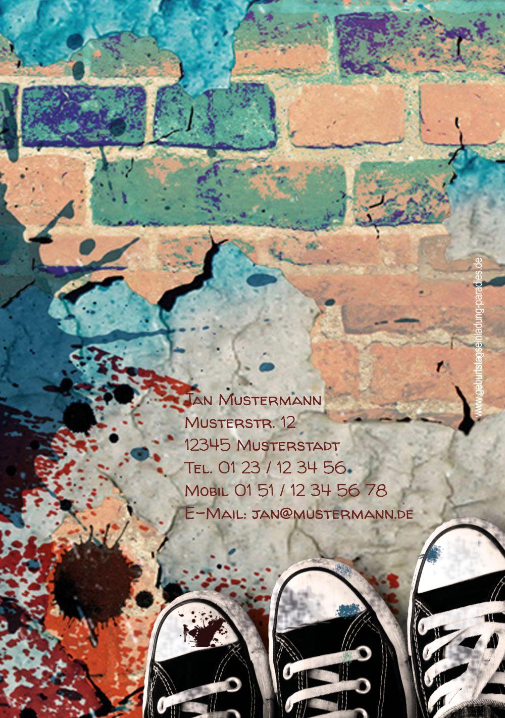 Ansicht 2 - Geburtstagskarte Jugendliche Graffiti Foto