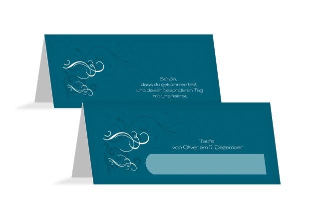 Taufe Tischkarte Schnörkel