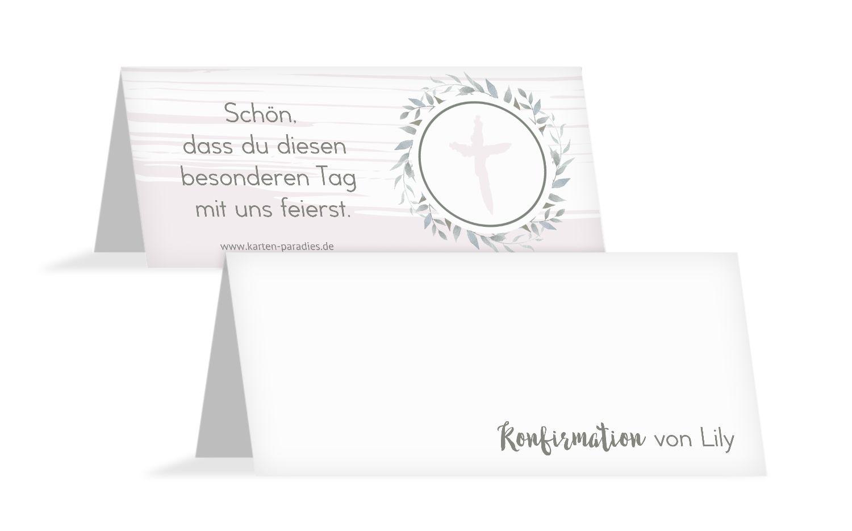 Konfirmation Tischkarte Kranz