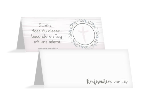 Konfirmation Tischkarte Kranz Retrogrün 100x44mm