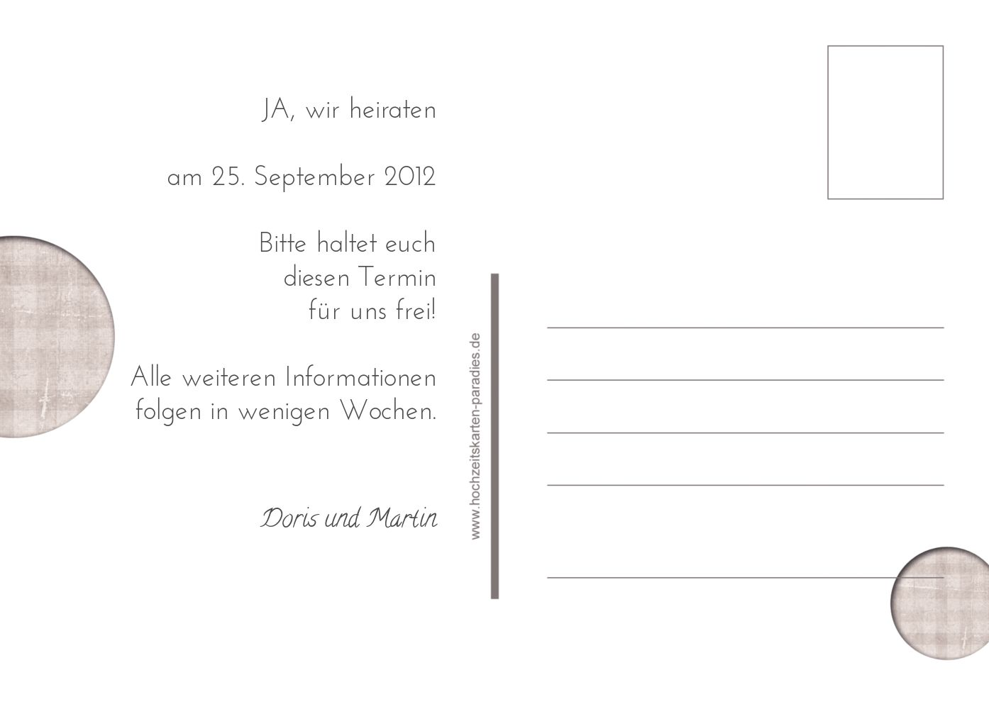 Ansicht 3 - Save-the-Date wedding harmony