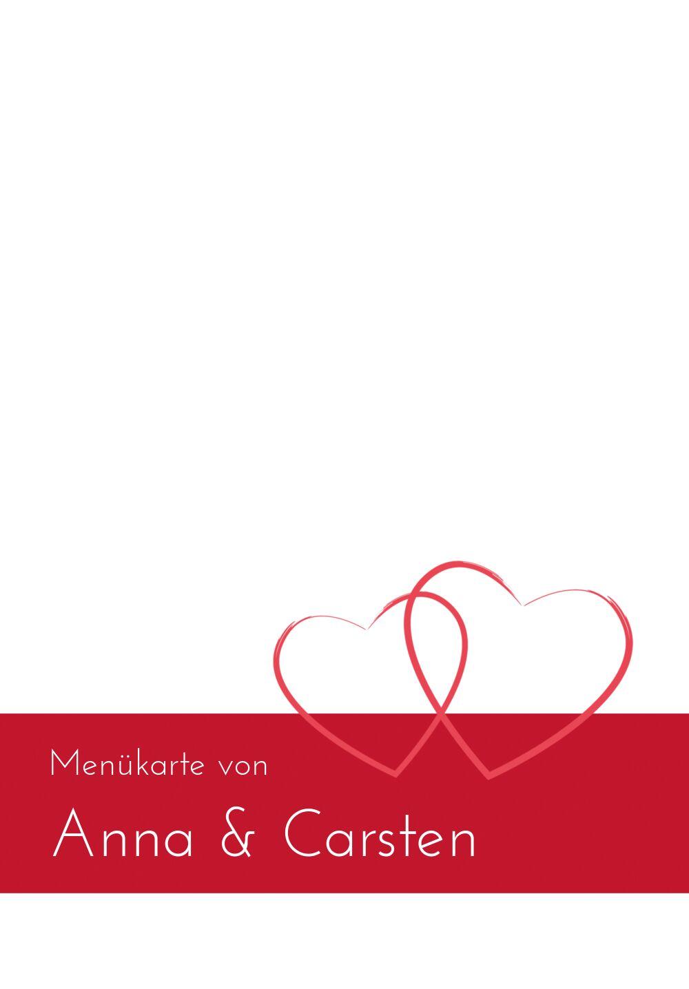 Ansicht 3 - Hochzeit Menükarte Herzensband