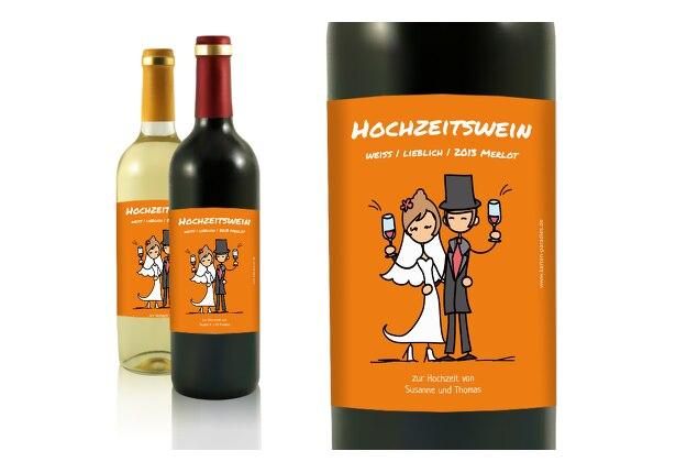Flaschenetikett Comic Brautpaar