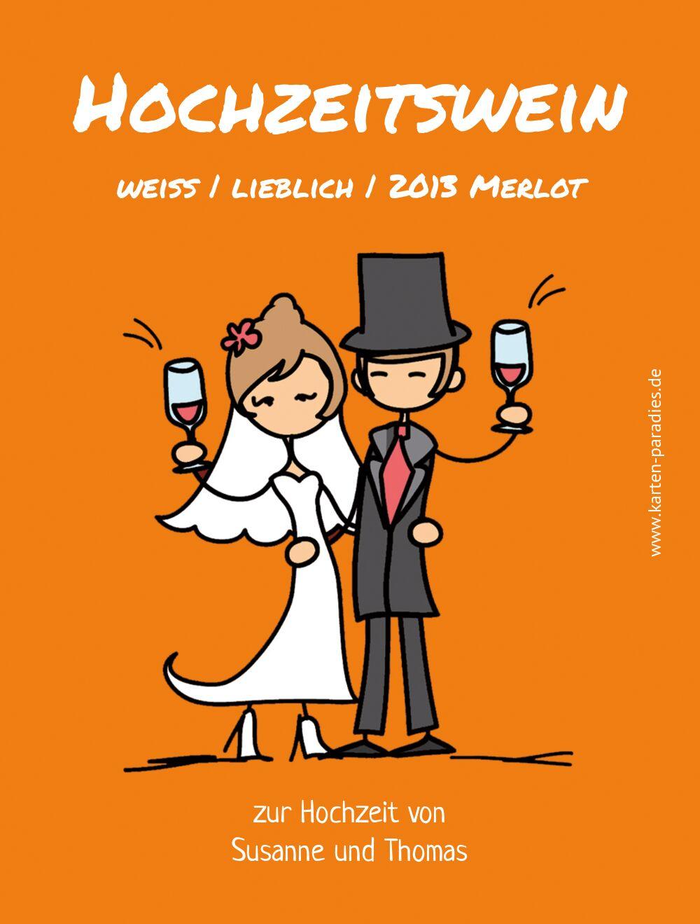 Ansicht 2 - Hochzeit Flaschenetikett Comic Brautpaar