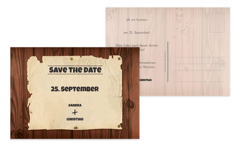 Hochzeit Save-the-Date Steckbrief