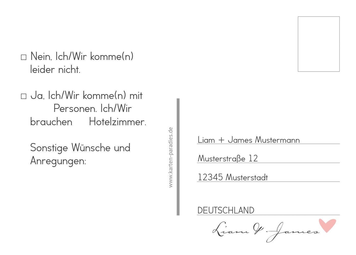 Ansicht 3 - Antwortkarte Pärchen - Männer