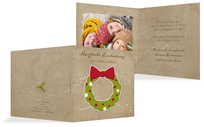 Foto Einladung Weihnachtskranz