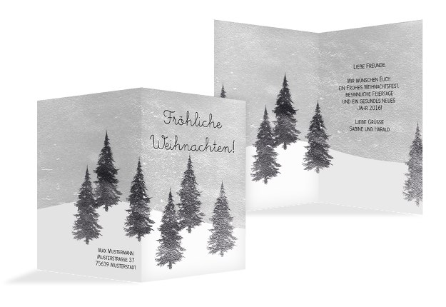 Grußkarte Winterwald