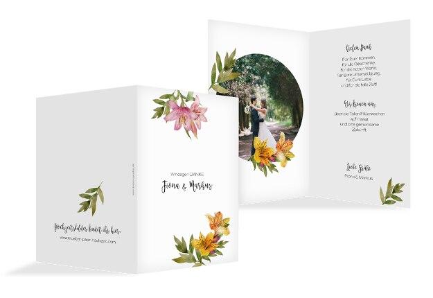 Hochzeit Dankeskarte Blumendeko
