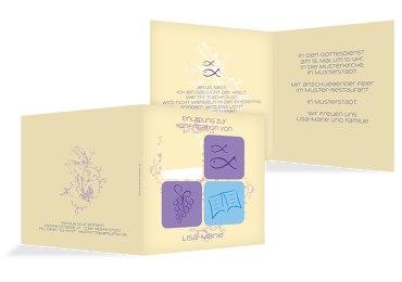 Einladungskarte zur Konfirmation Fisch