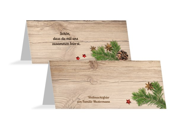 Tischkarte Holztisch