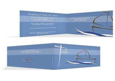 Taufkarte Schiffchen auf Wellen 2