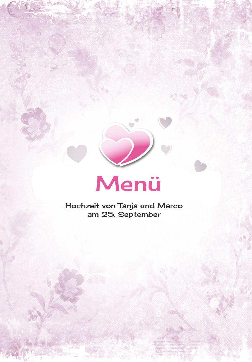 Ansicht 3 - Hochzeit Menükarte Din romantische Liebe