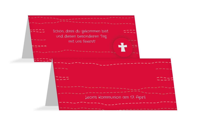 Tischkarte Kommunion Wellen Kreuz