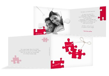Hochzeit Einladungskarte Puzzleteile