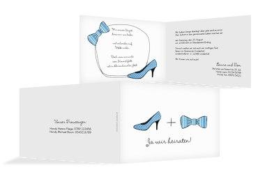 Hochzeit Einladung High Heel und Fliege