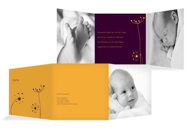 Baby Dankeskarte abstrakte Blumen