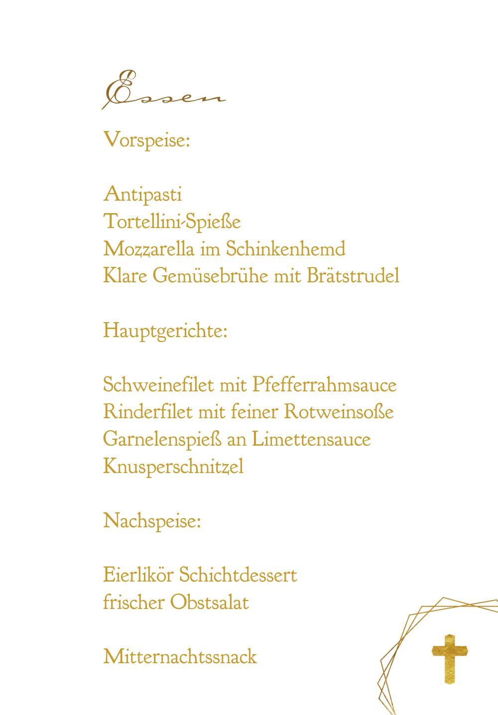 Ansicht 5 - Konfirmation Menükarte Goldrausch