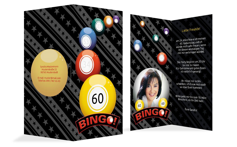 Einladung zum Geburtstag Bingo 60 Foto
