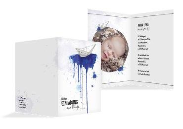 Taufe Einladungskarte Origamischiff Blau 105x148mm